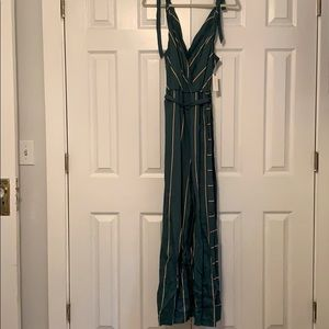 Anthropologie Wide Leg Green & Yellow Jumpsuit